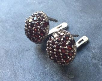 Garnet Earrings, Natural Garnet, January Birthstone, Red Garnet Earrings, Artisan Earrings, January Earrings, Solid Silver, Pure Silver