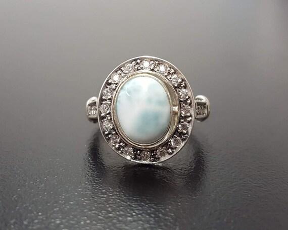 Vintage RingBlauAntiker BirthstoneEinzigartigen Himmelblau Himmel Ring Larimar Silber Massiv März 3q54ALjR
