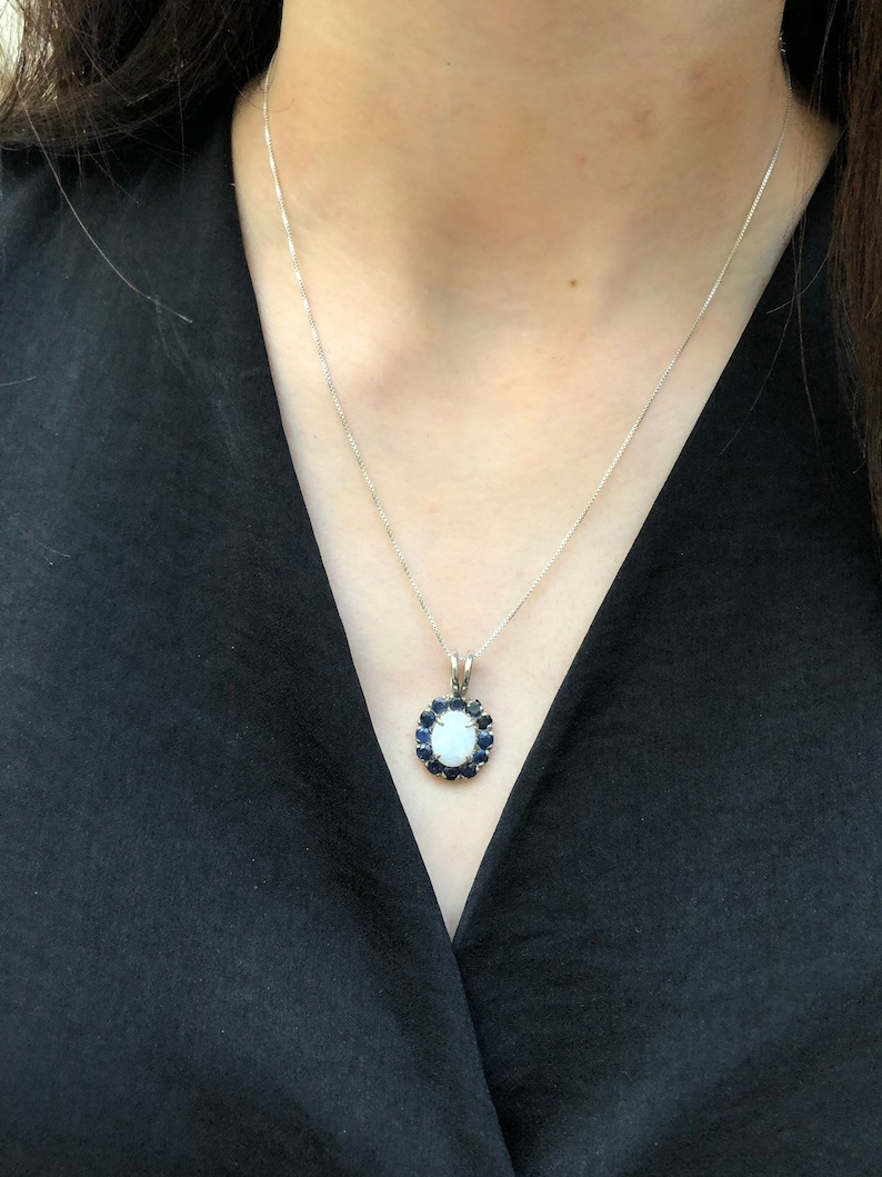 October Birthstone September Birthstone Vintage Pendant Solid Silver Pendant Natural Sapphire Pendant Opal Pendant Birthstone Pendant