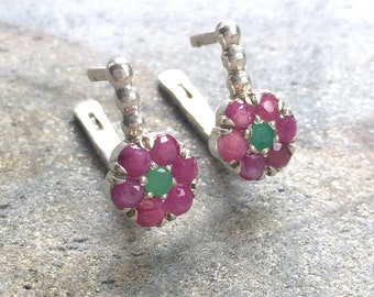 Emerald Earrings, Natural Emerald Earrings, Natural Ruby Earrings, Vintage Earrings, May Birthstone, July Birthstone, Silver Flower Earrings