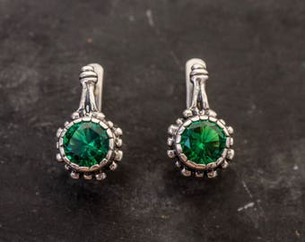Emerald Earrings, Antique Earrings, Solid Silver Earrings, Stud Earrings, Created Emerald, Vintage Earrings, Green Earrings