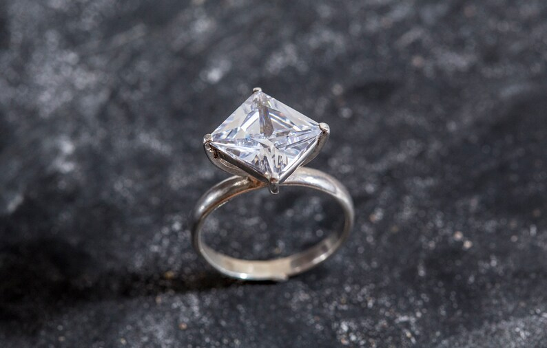 Sparkly Ring Diamond Unique Ring Solid Silver Ring Square Ring Engagement Ring Created Diamond Ring Created Diamond Rhombus Ring