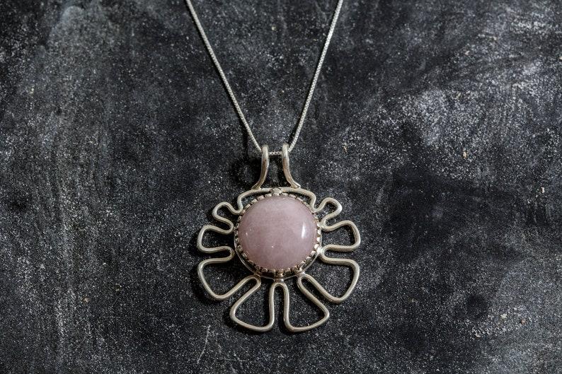 Natural Rose Quartz Silver Pendant January Birthstone Unique Pendant Rose Quartz Pink Pendant Flower Pendant Rose Quartz Pendant