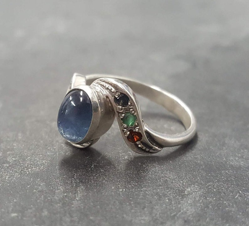 Blue Sapphire Ring Sapphire Ring Natural Sapphire Blue Vintage Ring 925 Silver Ring Unique Ring Multistone Ring September Birthstone