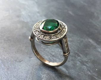 Emerald Ring, Antique Ring, Vintage Ring, Antique Emerald Ring, Antique Rings, Sterling Silver Ring, Green Vintage Ring, Created Emerald
