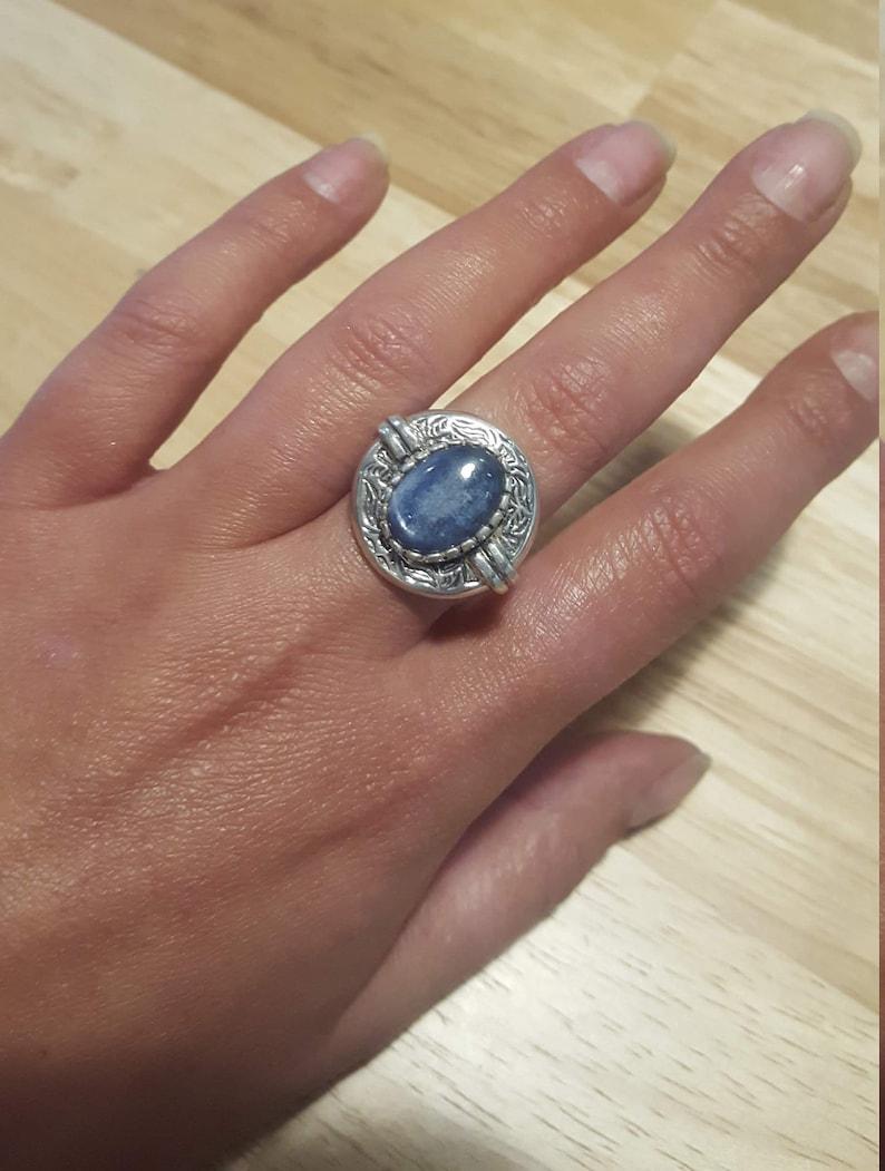 Egyptian Ring Vintage Rings Kyanite Natural Kyanite Egyptian Blue Ring Blue Ring Blue Kyanite Ring Blue Kyanite Solid Silver Ring