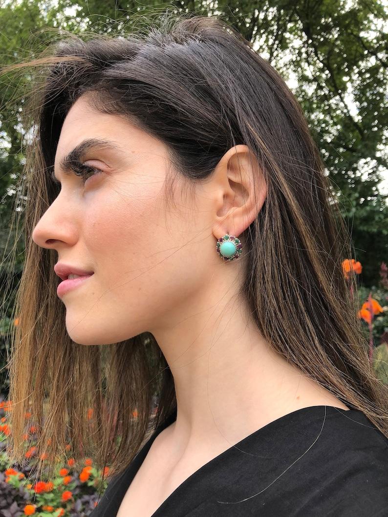 Amethyst Earrings Natural Amethyst Amethyst Birthstones Earrings Vintage Earrings Solid Silver February Birthstone Mothers Birthstone