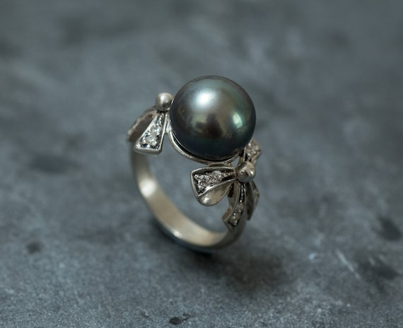 Black Pearl Ring June Birthstone Solid Silver Ring Natural Pearl Vintage Pearl Ring Flower Ring Round Pearl Ring Silver Leaf Ring