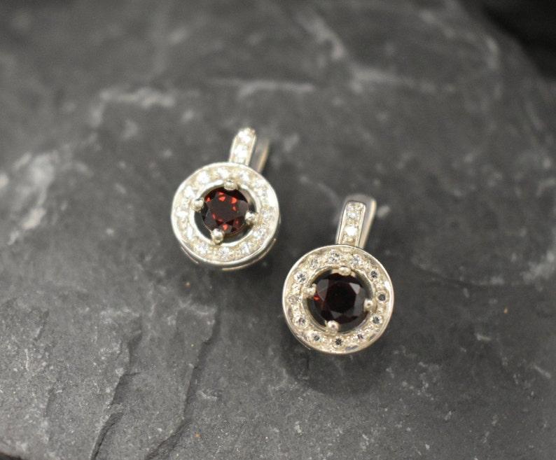 Natural Garnet January Birthstone Red Diamond Earrings Red Garnet Earrings Solid Silver Earrings Red Vintage Earrings Garnet Earrings