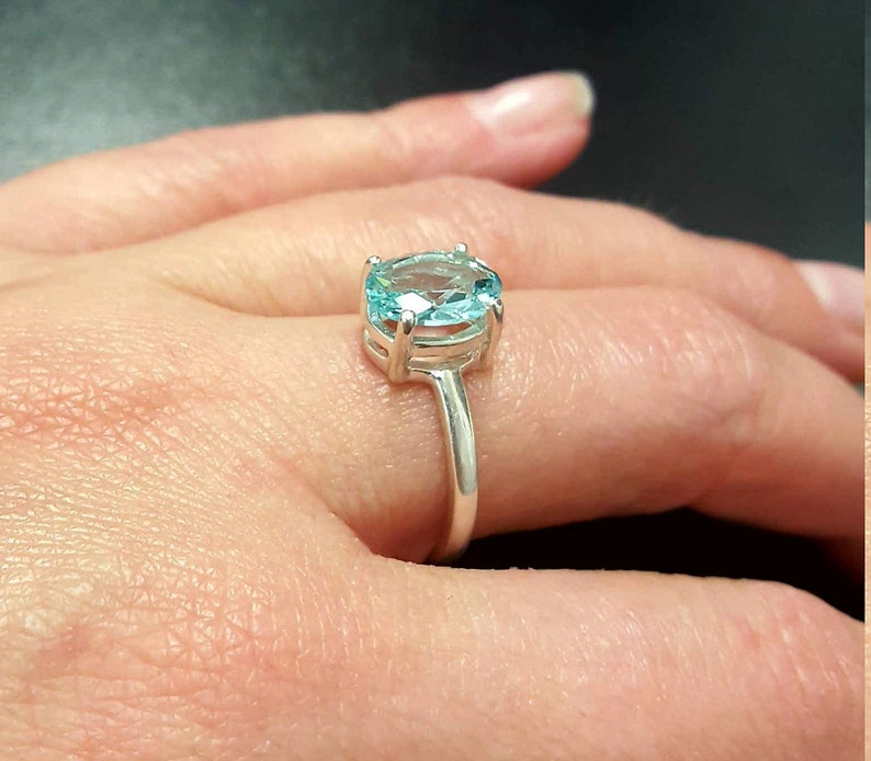 Vintage Rings Blue Promise Ring Created Aquamarine Blue Diamond Ring Solid Silver Ring Blue Aqua Ring Promise Ring Aquamarine Ring