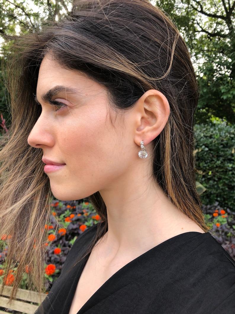 2 carat Diamond Solid Silver CZ Diamonds Bridal Earrings Bridal Diamond Earrings Diamond Earrings Vintage Earrings Created Diamond