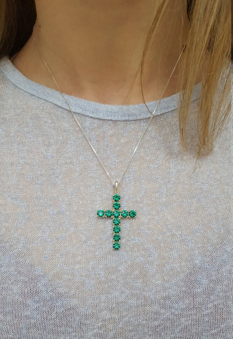 Cross Pendant Symbolic Pendant Sapphire Pendant Vintage Cross Pendant Blue Cross Necklace Created Sapphire Solid Silver Pendant