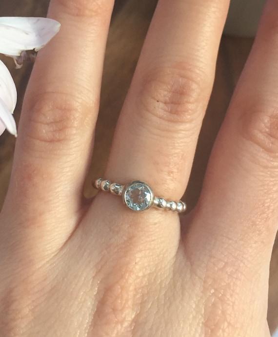 Blue Topaz Ring Birthstone Ring December Birthstone Ring Etsy