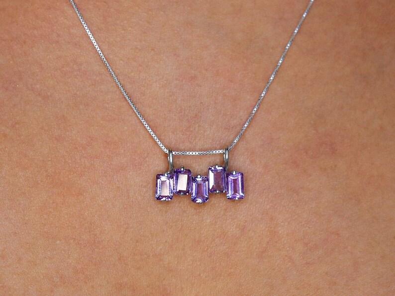 Horizontal Pendant Baguette Necklace Solid Silver Pendant February Birthstone Emerald Cut Pendant Amethyst Pendant Natural Amethyst