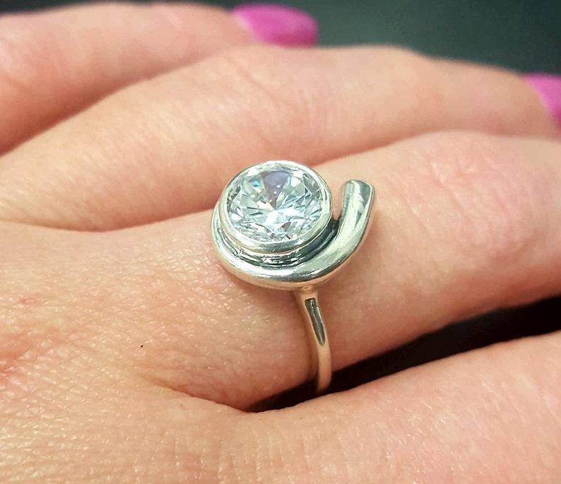 Bridal Ring Round Ring 2 Carat Ring Solid Silver Ring Promise Ring Silver Round Ring Sparkly Ring Diamond Ring Created Diamond