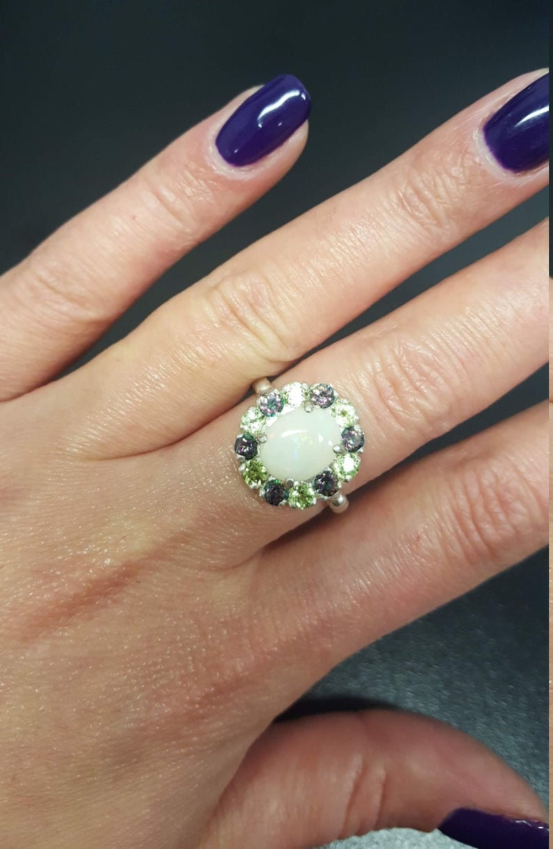 Natural Opal Ring Opal Ring Australian Opal Ring Real Opal Ring Victorian Ring Silver Ring Topaz Ring October Ring Vintage Opal Ring