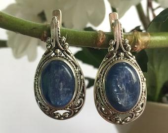 Statement Earrings, Kyanite Earrings, Blue Kyanite, Vintage Earrings, Long Blue Earrings, Antique Earrings, Vintage Kyanite, Silver Earrings