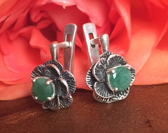 Emerald Earrings, Genuine Emerald, Antique Earrings, Birthstone Earrings, May Birthstone, Vintage Earrings, High Quality Silver