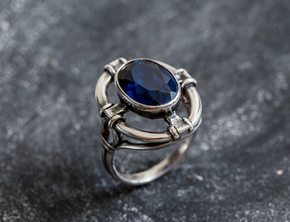 Blue Sapphire Royal Blue Ring Solid Silver Created Sapphire Blue Sapphire Ring Artistic Ring Vintage Rings Blue Stone Sapphire