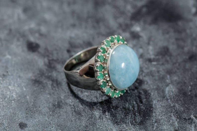 Natural Emerald Ring Aquamarine Ring May Birthstone Ring Large Aquamarine Aqua March Birthstone Ring Emerald Ring Natural Aquamarine