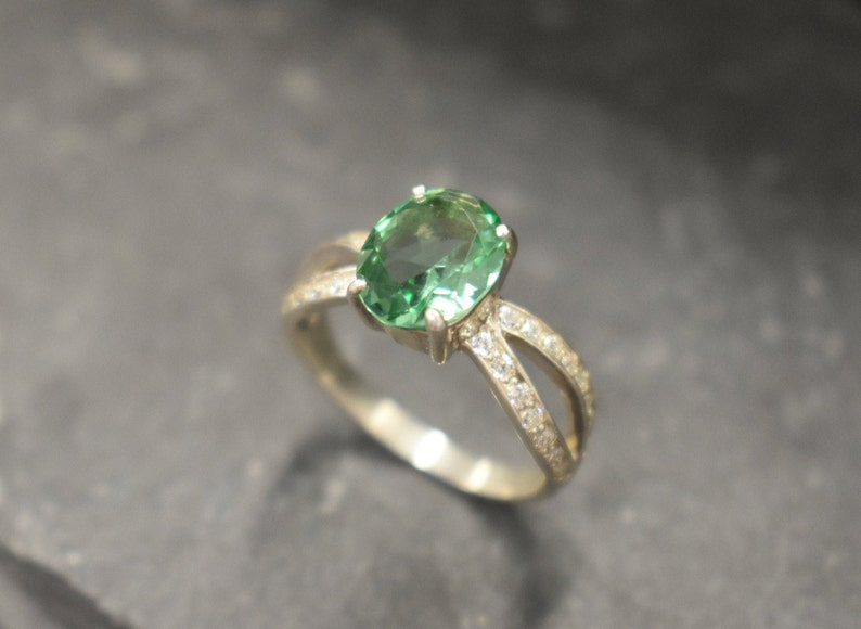 Mint Emerald Ring Emerald Ring Created Emerald Solitaire image 0