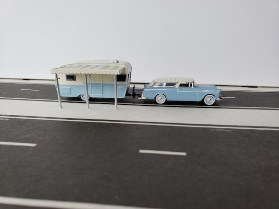 1955 Chevy Nomad Sport Wagon Towing A Shasta Airflyte Travel Trailer 164 DieCast Metal Adult Collectible Model Car&Camper Trailer Set