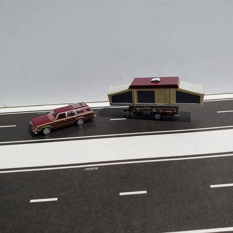 1981 Ford LTD Country Squire Woody Wagon Towing A Pop Up Camper Tent  Trailer 1/64 Scale DieCast Metal Adult Collectible Model Car&Camper Set