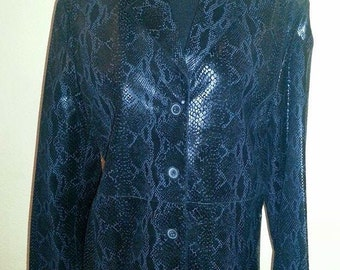 Black Leather - Snakeskin Look Jacket -  Never Worn! - Ladies Size 12. Free Shipping