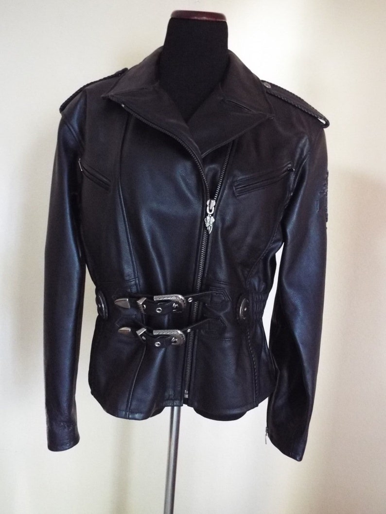 90s Ladies Leather Harley Davidson Jacket. Worn Once Size L  image 0