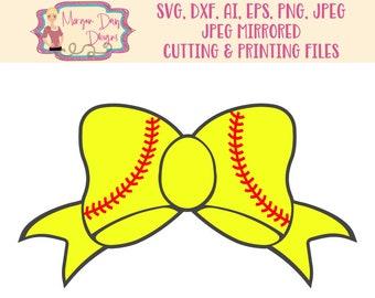 Softball Bow SVG - Softball Clip Art - Softball SVG - Noun SVG - Icon svg -  Softball Girl - Bow - Files for Silhouette Studio/Cricut Design