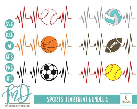 Sports Bundle Svg Bundle Svg Sports Heartbeat Svg Heartbeat Etsy