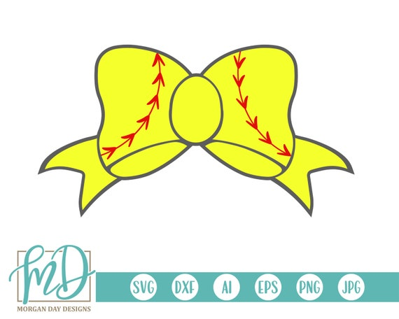Softball Bow Svg Softball Clipart Softball Svg Softball Etsy