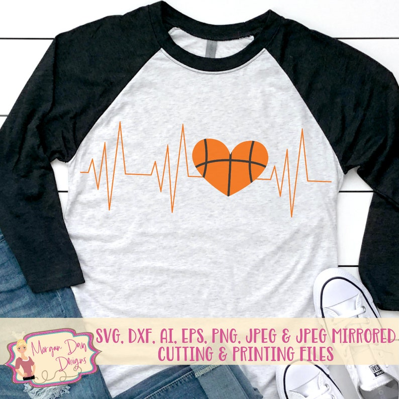 Basketball Heartbeat Svg Basketball Mom Svg Basketball Svg Etsy