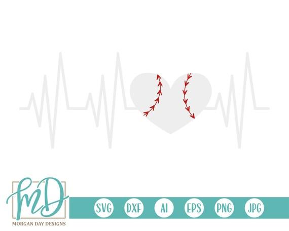Baseball Heartbeat Svg Baseball Ekg Svg Baseball Heart Svg Etsy