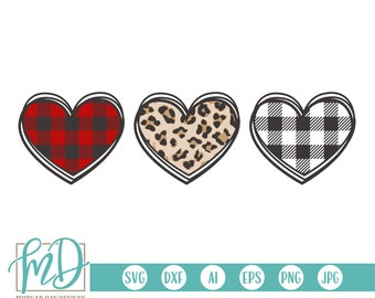 Valentine Heart Trio SVG, Valentine SVG, Valentines Day SVG, Buffalo Plaid Heart svg, Leopard Heart svg, Striped Heart svg, Cut Files, Dxf
