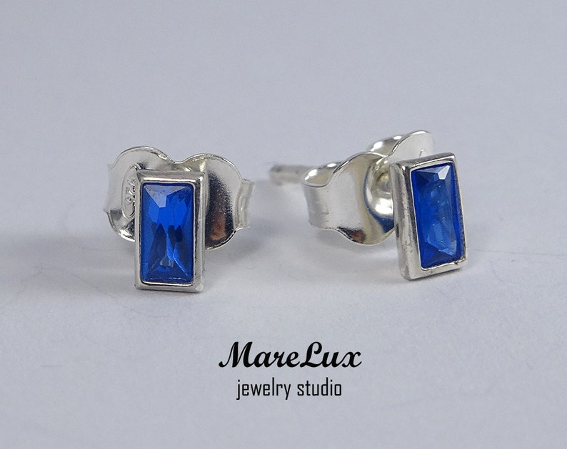 904c29b46 Baguette Sapphire Stud Silver or Gold Earrings Rectangle Blue | Etsy