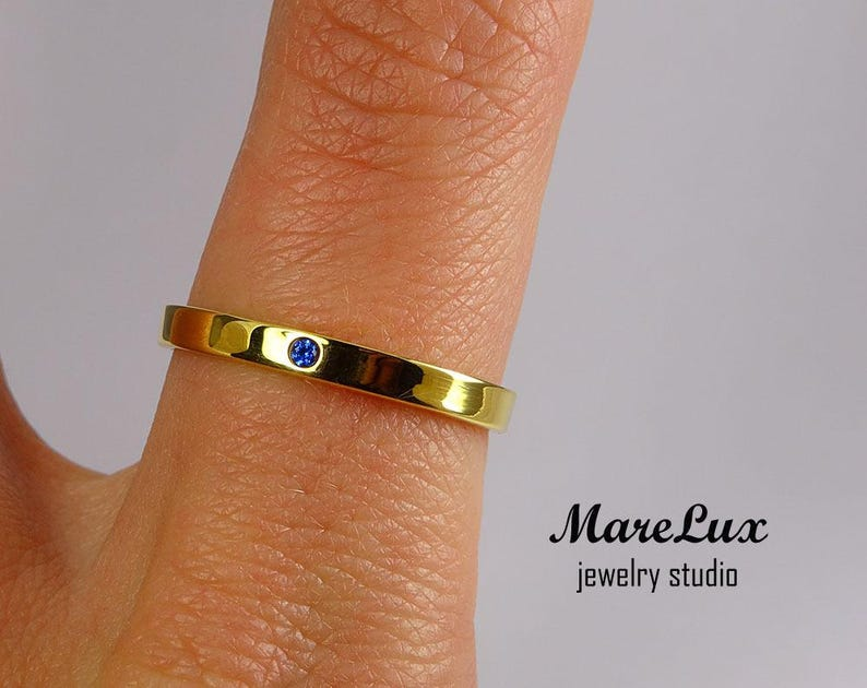 September Jewelry Synthetic Sapphire Yellow Gold  Band 1.5 mm Round Cut Blue Sapphire 24K Gold Plated Ring Tiny Sapphire Gold Band
