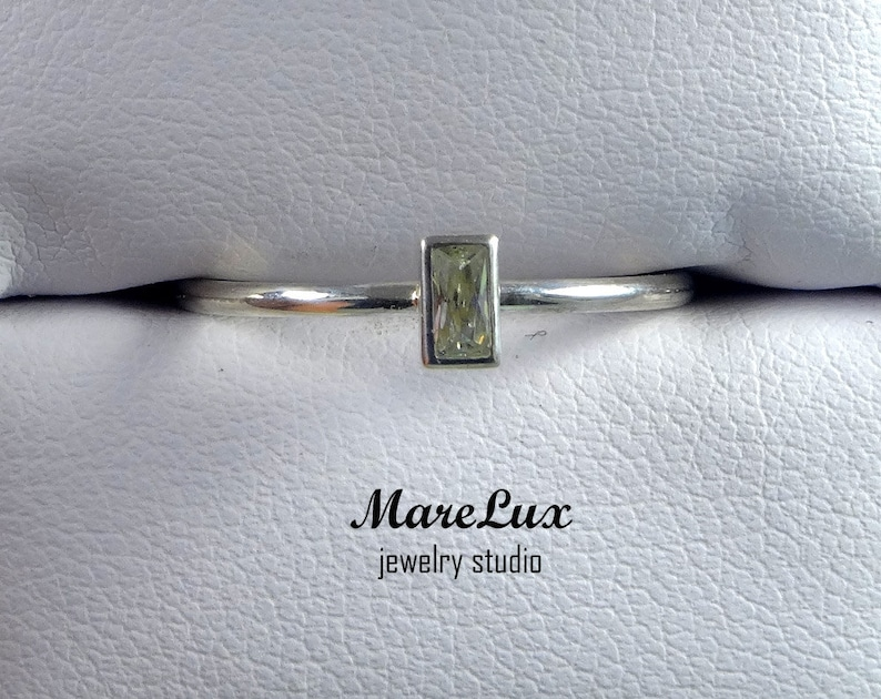 Gemstone CZ Ring  Sterling  Cubic Zirconia Ring  Tiny ring  Little Ring  Minimalistic Ring Baguette Cut Stacking Silver Ring