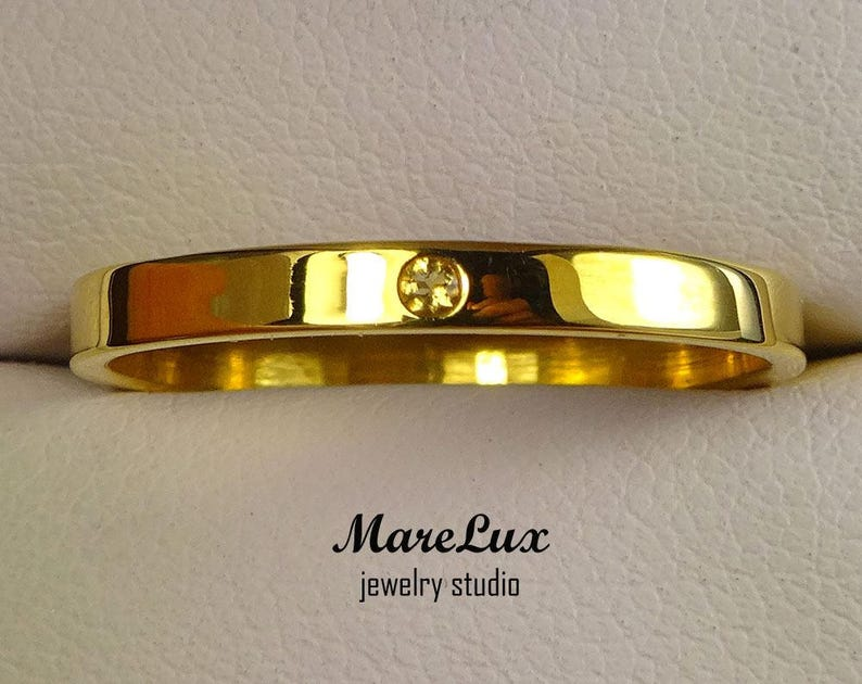 1.5 mm Round Cut Yellow Citrine Gold Ring Natural Citrine 24K Yellow Gold  Band Thin Citrine 24K Gold Wedding Band November Jewelry