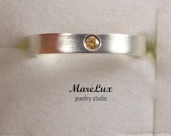 Citrine November Birthstone Silver Ring, Synthetic  Citrine Ring, Sterling Silver or Gold Citrine Band Ring, Round Cut  Ring