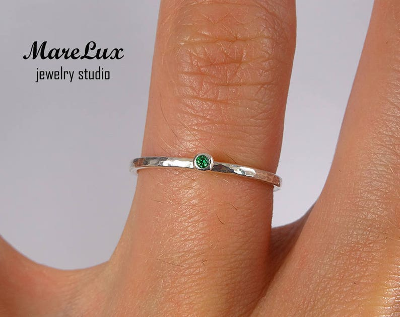 1.5mm Green Cubic Zirconia Ring May Birthstone Emerald Ring Silver Green CZ Ring Tiny Stackable Ring Emerald Stacking Silver Hammered Ring