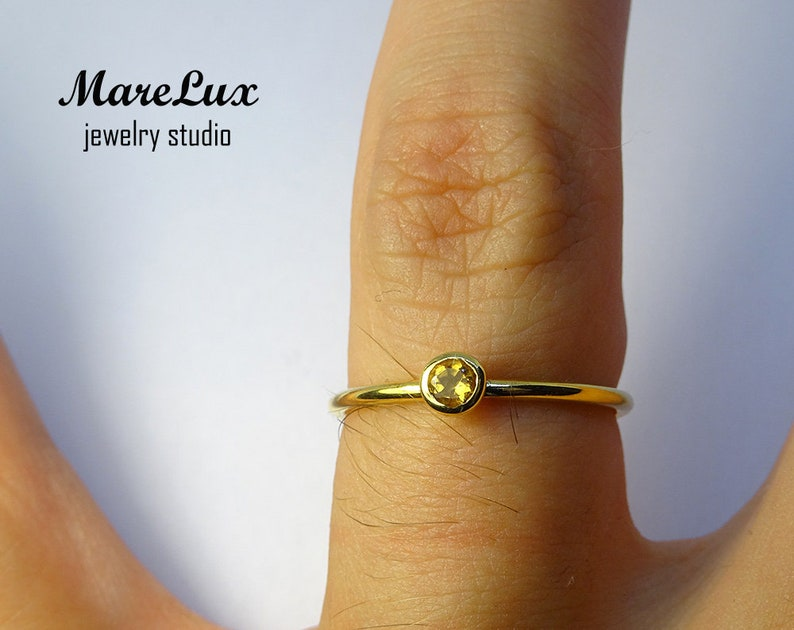 Natural Citrine 14K Yellow Gold Plated Ring 14K Gold Plated Citrine Ring Yellow Genuine Citrine Stackable Ring Yellow Engagement Ring