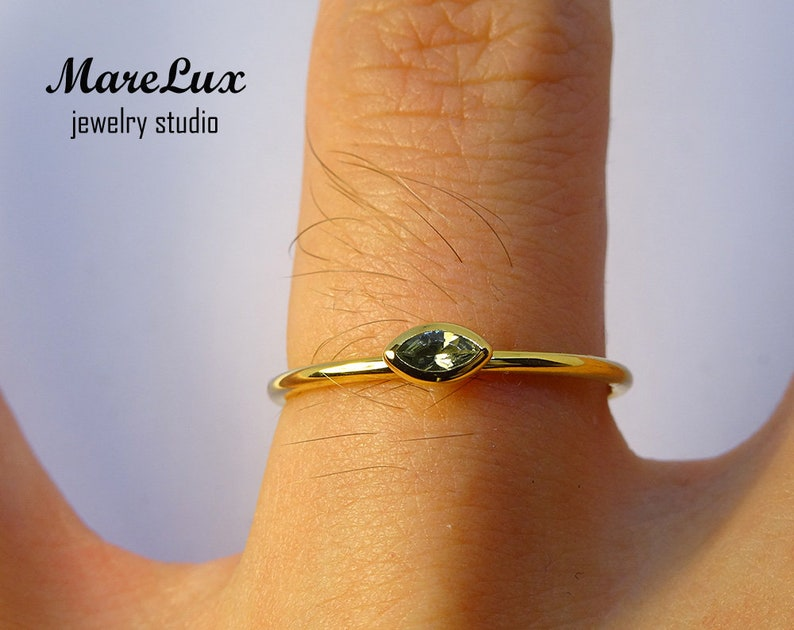 9K Solid Gold Marquise Tourmaline Ring October Birthstone Gold Ring Synthetic Green Tourmaline Ring Stackable Tourmaline 9K Solid Gold Ring
