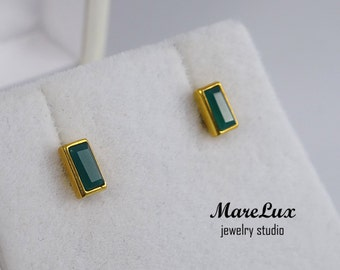 Baguette Natural Green Agate Stud 24K Gold Plated Silver or Gold Earrings, Rectangle Green Earrings, Natural Green Agate, Stud Earrings