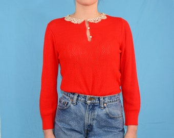 1970's Vintage Women's S 4 to 6 Open Knit Red Top Lace Peter Pan Collar Oops of California