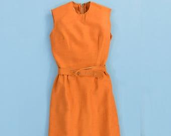 1950's Vintage Women's 00 or 2XS Burnt Orange Cambric Pencil Dress Sheath Dress