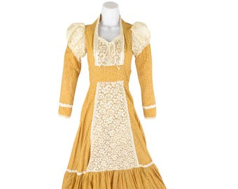 1970's Vintage Women's 00/XXS Jessica Gunne Sax Dress Yellow Lace Bib Puffed Sleeve