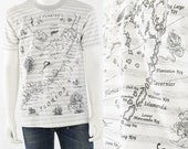 90s vintage striped graphic print map of Florida Keys T shirt mens L Anvil