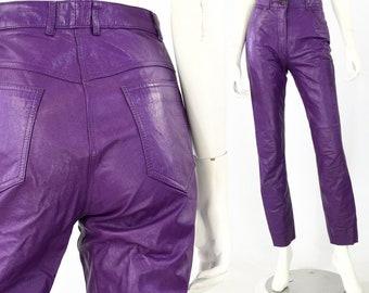 0d8450c08d1448 80s Vintage Women's Purple Leather High Waist Pants 5 Pocket Size 2 26
