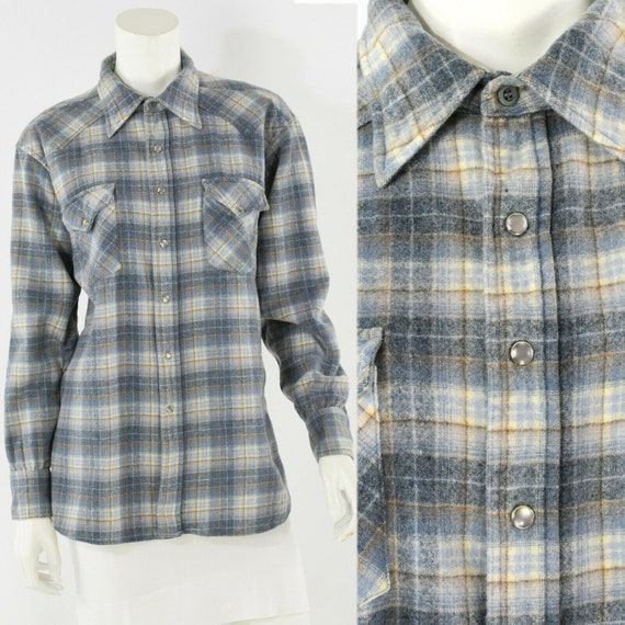 60s vintage women's XL Pendleton blue plaid wool p
